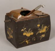 A Japanese Meiji period copper mounted lacquered smokers companion The two lidded compartments