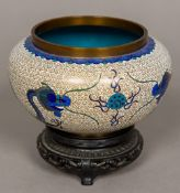 A Chinese cloisonne bowl Of squat ovoid form,