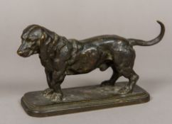 ANTIONE LOUIS BARYE (1795-1875) French Model of a Bassett Hound Patinated bronze,