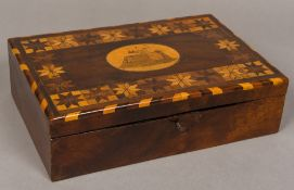A 19th century inlaid mahogany work box The hinged rectangular lid centrally inlaid with a roundel