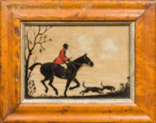 A late 19th/early 20th century reverse glass painted silhouette of a huntsman and his hounds Maple