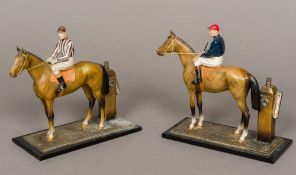 Two early 20th century cold painted art metal table lighters Each modelled as a horse and jockey
