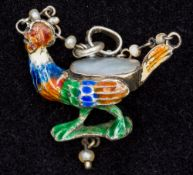 A 19th century enamel, mother-of-pearl and seed pearl mounted pendant Formed as a chicken.