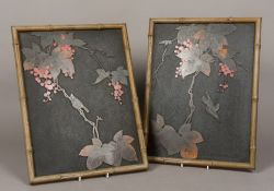 A pair of late 19th/early 20th century Japanese lacquered panels Worked with birds amongst fruiting