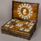 A late 19th century Anglo-Indian ivory inlaid coromandel workbox The shaped hinged lid inlaid to