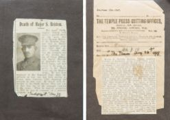 A good collection of World War I and earlier correspondence relating to Major R Spencer Britten