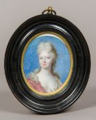 An early 18th century portrait miniature on copper Depicting Sarah Churchill 1st Duchess of