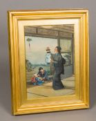 A fine quality 19th century Japanese painting on silk Depicting a woman wearing a kimono hanging a