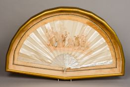 A French printed silk fan Worked with figures promenading in parkland After Auguste Lauronce,