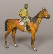 An early 20th century cold painted bronze figure of a horse and jockey, probably Austrian 11.