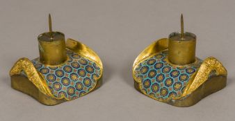 A pair of 18th/19th century Chinese cloisonne decorated pricket sticks Each of shouldered domed