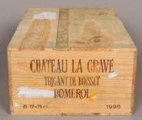 Chateau La Grave Pomerol 1996 Twelve bottles, in old wooden case.