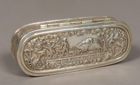 A 19th century embossed silver snuff box Of hinged oval form,