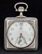 An Omega white metal square cased pocket watch The signed white enamel dial with Arabic numerals