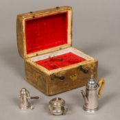 An 18th century style miniature silver three piece tea set,