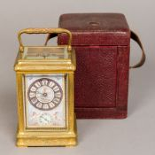 A late 19th/early 20th century French repeating carriage alarm clock The Sevres type painted