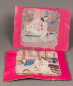 CHINESE SCHOOL (late 19th/early 20th century) A pair of erotic paintings on silk Worked with