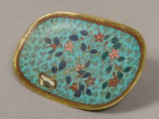 A Chinese cloisonne dish Of rounded rectangular form. 12 cm wide.