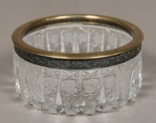 A Russian silver mounted cut crystal glass bowl,