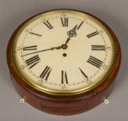 A 19th century mahogany cased fusee dial clock The white painted dial with Roman and Arabic