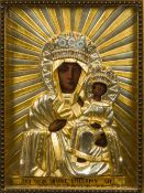 A 19th century Central European icon Typically worked with the baby Jesus and the Virgin Mary with