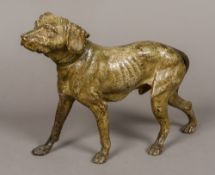 A cold painted model of a retriever Naturalistically modelled wearing a collar. 33 cm long.
