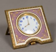 A late 19th century Austrian enamel decorated desk strut clock The white enamelled dial with Arabic