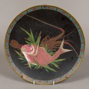 A 19th century Chinese cloisonne plate Centrally decorated with a fish and a lobster,