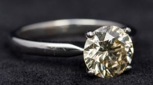 An 18 ct white gold diamond set solitair