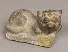 A Chinese carved stone figure of a cat