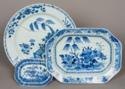 A large 18th century Chinese blue and wh