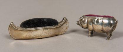 An Edwardian silver novelty pin cushion,