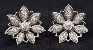 A pair of 18 ct white gold diamond set o