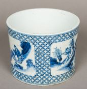 A Chinese blue and white porcelain brush