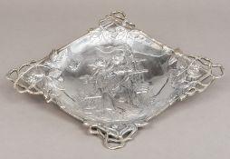 A Turkish 900 silver Art Nouveau dish