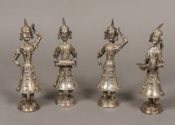 A set of four Eastern unmarked white met
