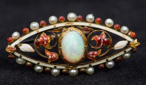 An unmarked gold opal, seed pearl and en