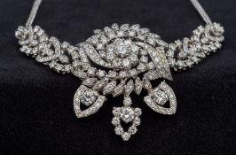 An 18 ct white gold diamond set necklace