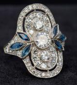 An Art Deco diamond and sapphire set pla