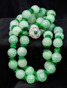 A Chinese carved jade bead necklace