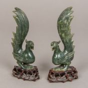 A pair of Chinese carved spinach jade ex
