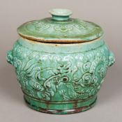 A Chinese pottery twin handles lidded ve