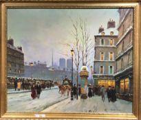 A pair of Parisian Street Scene embellished prints,