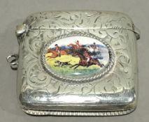 A silver vesta depicting a hunting scene
