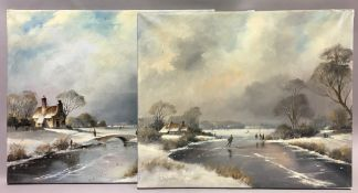 A pair of oil on canvas, winter scenes,