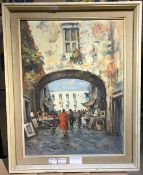 CONTINENTAL SCHOOL (20th century), Antiques Market, oil on board, indistinctly signed,