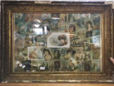 A gilt framed decoupage panel
