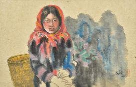 HADA (born 1971) Mongolian, Serenity, watercolour and bodycolour, signed and with red seal mark,