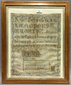 A Victorian sampler worked by Elizabeth Looker, Mildenhall School, 1857,