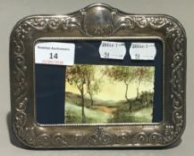 An oil on copper miniature country scene,
